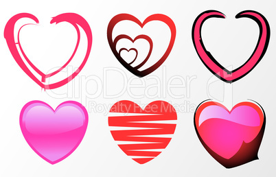 set of six cute valentine's day icons