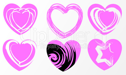 set of six pink hearts in emo style