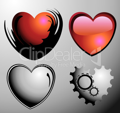 set of two red glossy hearts and two mechanical silver hearts