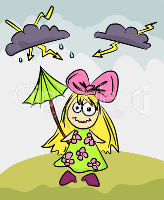 creepy girl with umbrella