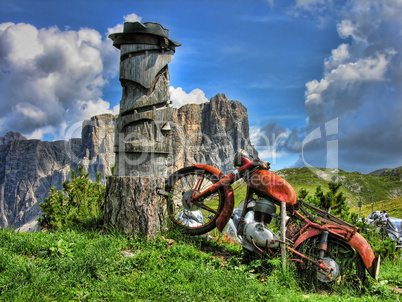Old Motorbike, Dolomites Mountains, Italy, Summer 2009