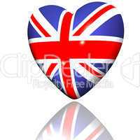 heart with britain flag texture isolated on a white