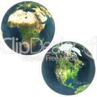 3D world Africa and North America
