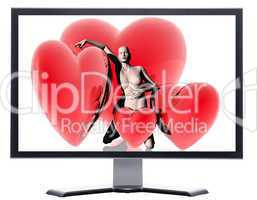 monitor with 3d virtual girl with red hearts background
