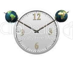 wall clock with two earth isolated on white
