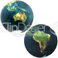 3D world Australia and South America