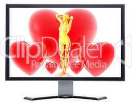 monitor with 3d virtual girl with red hearts