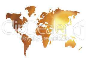 golden world map silhouette isolated on white