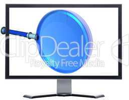 monitor with 3d magnifying glass