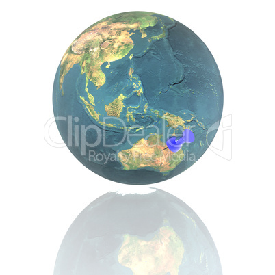 earth with blue pushpin isolated on white