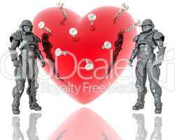 3d soldiers ward a red 3d heart background