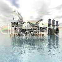 Drilling Platform in sea with clouds