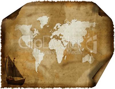 old world map on grunge retro paper