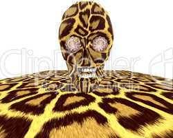 leopard textured skull