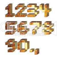set of 3d metal digits
