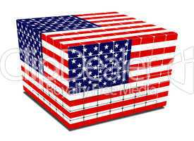 cube with gaps us flag textured