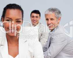Portrait of a beautiful Afro-American businesswoman smiling in a