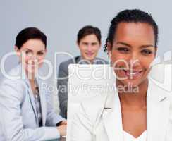 Portrait of a beautiful Afro-American businesswoman in a meeting