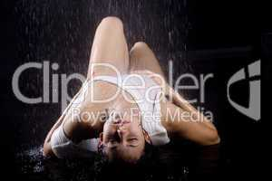 young girl under shower