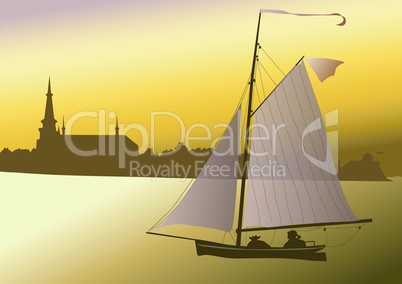 Segelschiff vor der alten Stadt