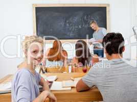 Teenagers studying in the high school