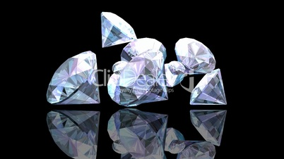 Diamonds Falling on a Black Background HD1080