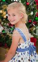 Portrait of a little girl at Christmas time