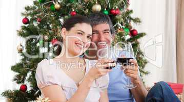 Lovers drinking wine at homa at Christmas time