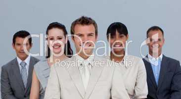 Happy multi-ethnic business team smiling