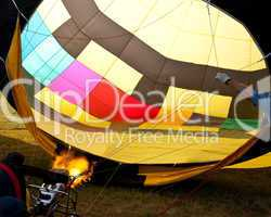 Hot air balloon inflation with flames