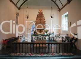 Interior of Melengell Church in North Wales