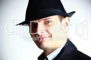 Spy men. Men in hat