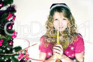 Blond christmas girl with light