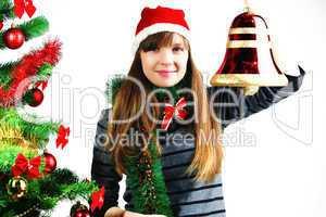Blonde girl hold Christmas Bell