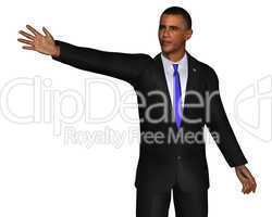 Barack Obama 3d model isolated on a white