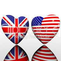 heart with US flag texture isolated on a white
