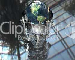 3D earth in 3D cyborg girl head