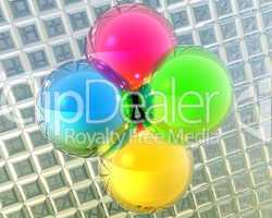 4 clolr metal bright balls