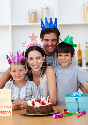 Happy Mother celebrating her birthday with her family