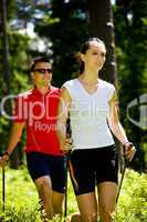 nordic walking in forest