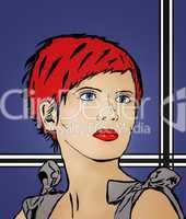 Comiczeichnung einer rothaarigen Frau in der Art nach Roy Lichtenstein