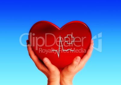 Hände tragen ein Herz mit einer EKG Linie