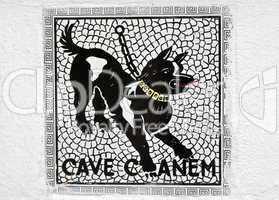 Mosaik eines Hundes mit Beschriftung in Latein