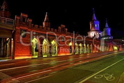 Oberbaumbrücke zum Festival of lights in Berlin an der Spree