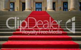Roter Teppich auf den Treppen aufwärts zum Konzerthaus Berlin am Gendarmenmarkt