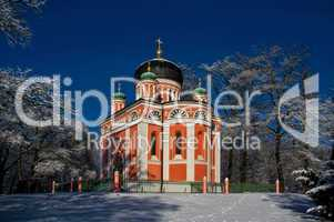 Russisch orthodoxe Kirche im Winter Nähe Potsdam