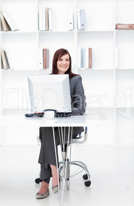 High angle of a young businesswoman working at a computer