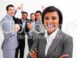 Business people celebrating a success