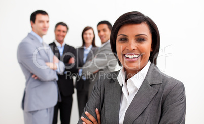 Ethnic businesswoman smiling at the camera