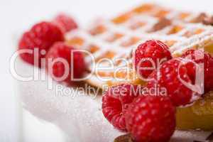 waffles and raspberries